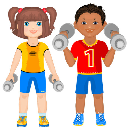 healthy kid: Smiling boy and girl with dumbbells. Cute athletes