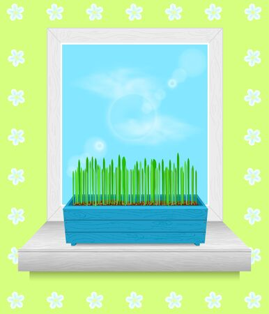 windowsill: Box with grass stands on the windowsill. spring time Illustration