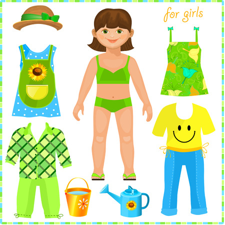 green dress: Paper doll with a set of clothes. Cute girl. Pretty gardener. Template for cutting.