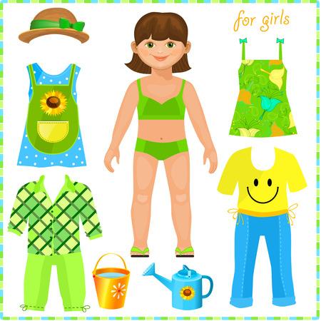Papier pop met een stel kleren. Schattig meisje. Pretty tuinman. Sjabloon voor het snijden. Stock Illustratie