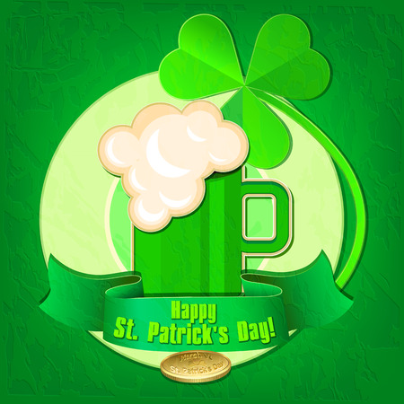 foaming: Happy St. Patricks Day. Card with a mug of beer, clover and golden coin