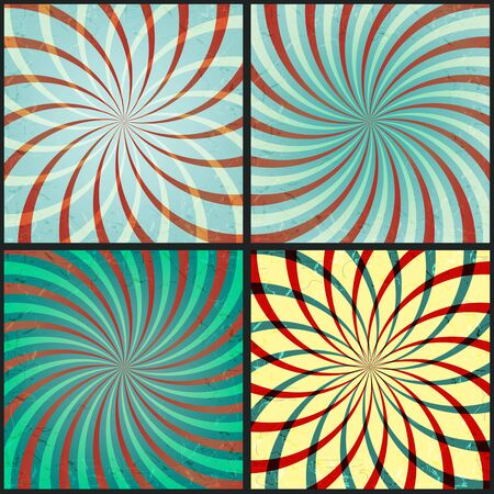 Set of abstract backgrounds with rays Illustration