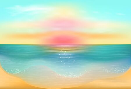 tropical beach panoramic:  Sunset on the sea  Seascape