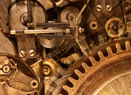 Abstracte gestileerde collage van een mechanisch apparaat