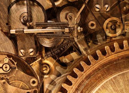 engrenages: Collage abstrait stylis� d'un dispositif m�canique Banque d'images