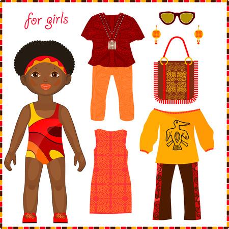 カラフルなエスニック衣料品のセットと紙人形。かわいい小さなアフリカの女の子。白い背景に分離