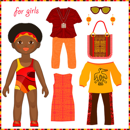 Paper doll with a set of colorful ethnic clothing. Cute little African girls. Isolated on white background