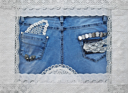Cute frame with lace and jeans