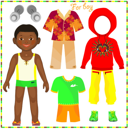 Paper doll with a set of fashionable clothing. Cute African boy. Template for cutting.