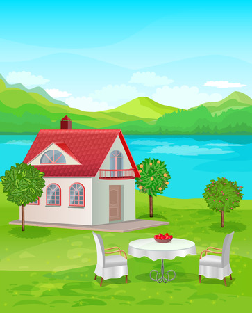 River House with mountain views. Table and chairs on the lawn at home Vector