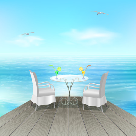 Table with cocktail on beach Vector