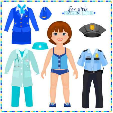 Paper doll with a set of professional clothings. Cute girl. Template for cutting. Vector