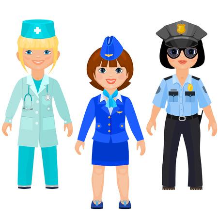 Mooie meisjes in uniform van artsen, politie en stewards. Vrouwelijke arts, vrouwelijke cop, vrouwelijke steward. Geïsoleerd op witte achtergrond