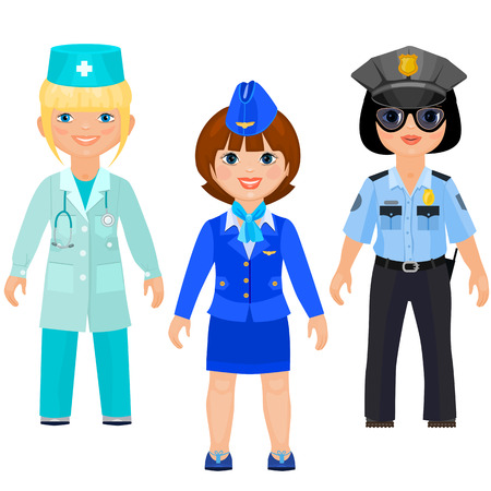 Pretty girls in uniform of doctors, police and stewards. Female doctor, female cop, female flight attendant. Isolated on white background