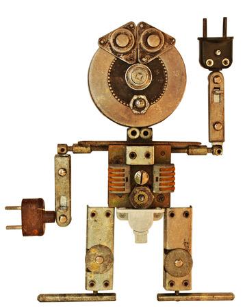 Robot uit oude metalen onderdelen. Geïsoleerd op witte achtergrond