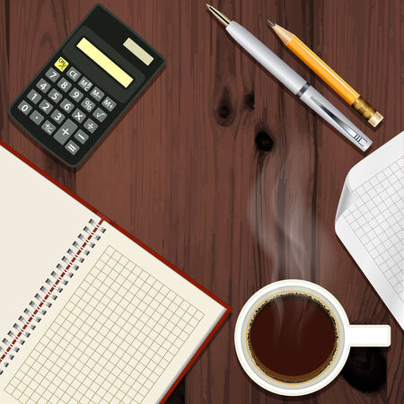 Office desk with coffee cup disclosed notepad and calculator, top view Vector