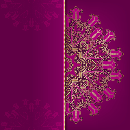 Luxury dark pink card with gold ornament
