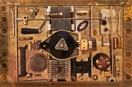 Abstract background of a variety of metal parts photo