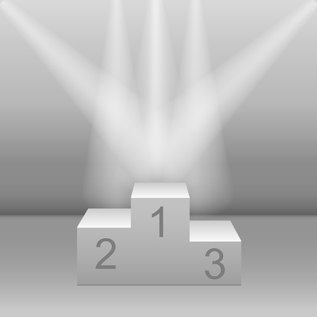 White pedestal floodlit. Realistic three-dimensional image Vector