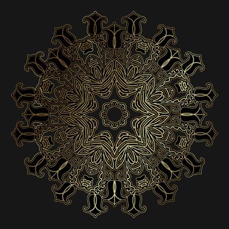 Round openwork gold pattern on black background Vector