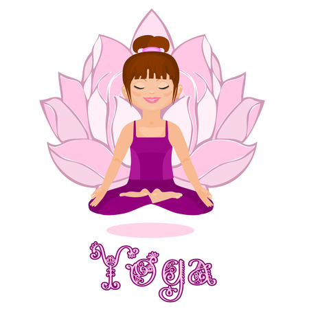 Young woman in a lotus position. Yoga classes. Isolated on white background Vector