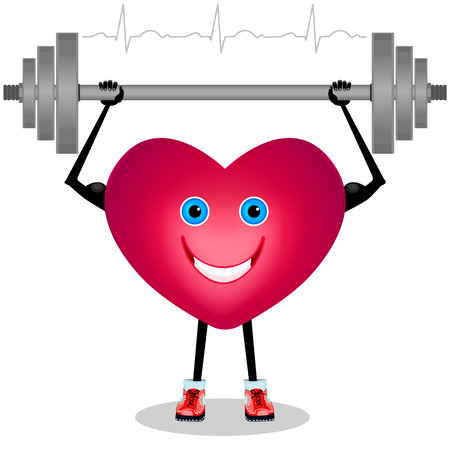 Cartoon heart with a barbell. Isolated on white background Vector