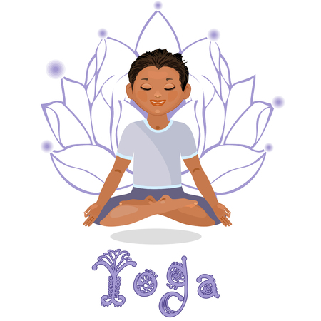meditation isolated white: Young man in a lotus position. Yoga classes. Isolated on white background Illustration