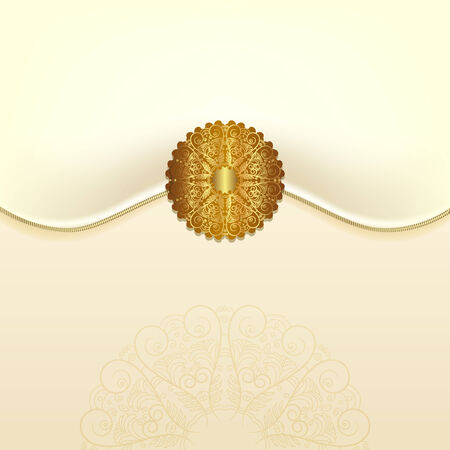 The original envelope with a gold clasp. Beautiful wedding card Vector