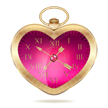 Gold pocket watch in the form of heart. Isolated on white background. original valentines Vector