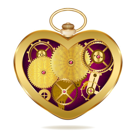 Clockwork heart-shaped clock. Isolated on white background. Original valentines Vector
