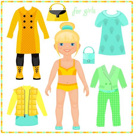 紙人形のファッションの服のセットを。美しいブロンド。切削用のテンプレート。