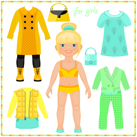 Paper doll with a set of fashion clothes. Pretty Blond. Template for cutting.