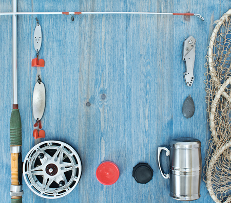 steelyard: frame of fishing tackles Stock Photo