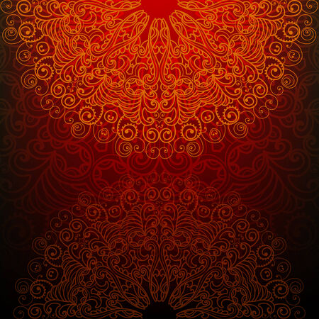 brown swirl: Abstract background with a fantasy pattern in oriental style Illustration