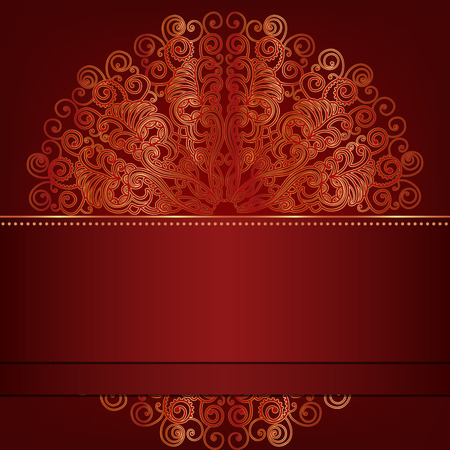Luxury card with round gold ornament. Place for your text Vector