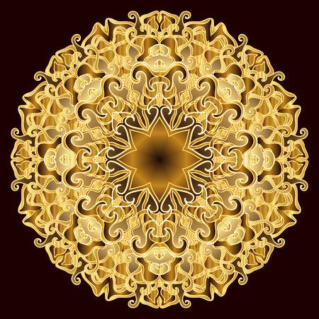 Gold round openwork pattern Vector