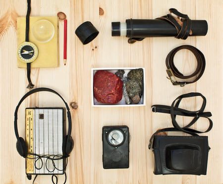 Collection equipment for tourist or expedition. Retro concept photo