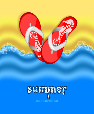 Sand, sea and flip flops  Summer bright background Vector