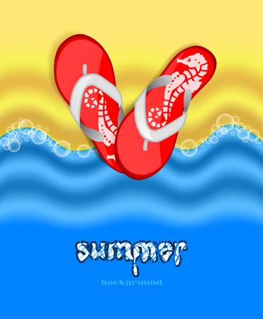 flops: Sand, sea and flip flops  Summer bright background Illustration