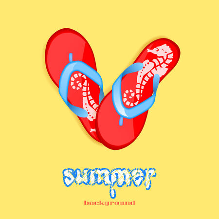 Bright red flip-flops with a pattern of seahorses on a yellow background  summer concept Vector