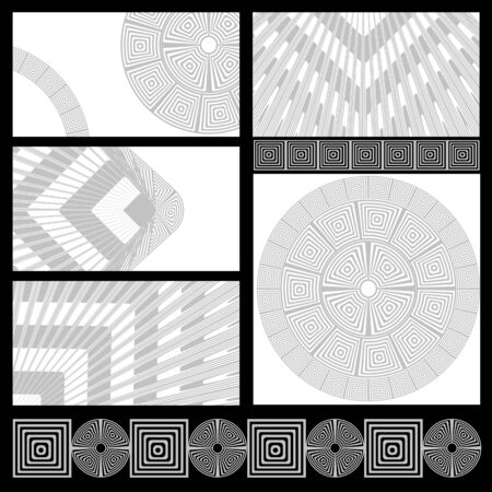 Set of cards with geometric patterns Vector