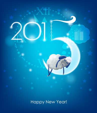 Happy New Year 2015  Original Christmas card  Sheep sleeps on a month Illustration