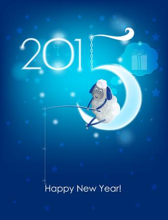 frohes neues jahr: Frohes Neues Jahr 2015 Original-Weihnachtskarte Sheep Fischer
