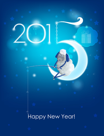 cartoon new: Happy New Year 2015  Original Christmas card  Sheep fishing