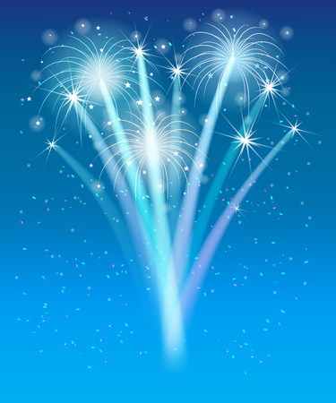 fireworks in the blue sky Vector