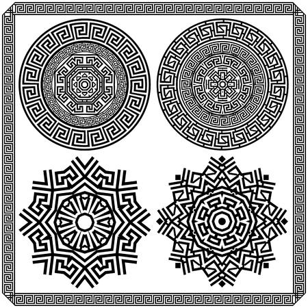 antigua grecia: Conjunto de elementos decorativos de la meandro griego. Gráficos en blanco y negro
