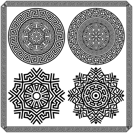 Set of decorative elements of the Greek meander. Black and white graphics