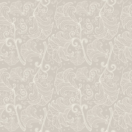 Abstract seamless floral pattern contour. Elegant wedding background Illustration