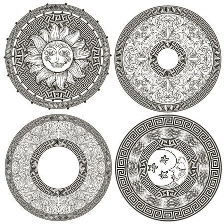sol y luna: Conjunto de marcos decorativos y rosetas con el meandro griego, patrón de la planta, el sol y la luna