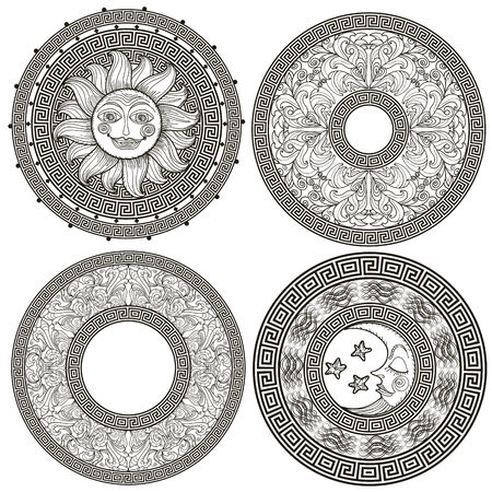 Set of decorative frames and rosettes with the Greek meander, pattern plant, sun and moon